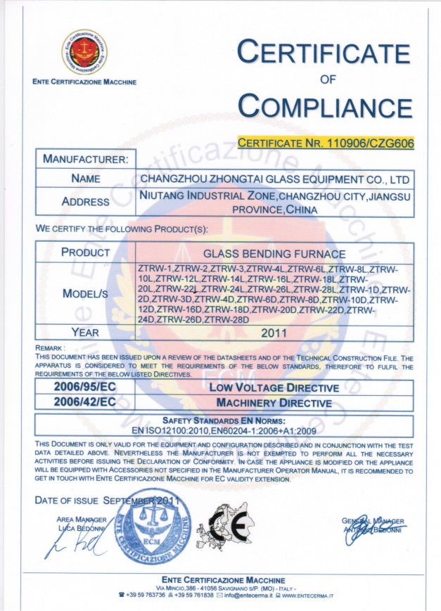 CE certificate of Compliance of Glass Bending Furnace
