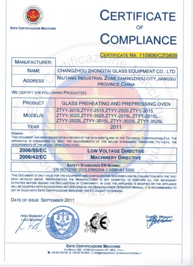 CE certificate of Compliance of Glass Pre-Heating and Pre-Pressing Oven
